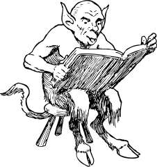 Demon reading a book.