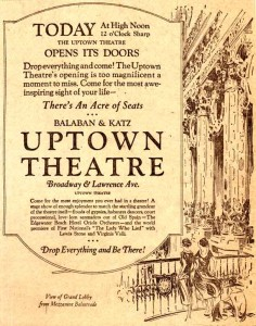 Original Ad from the Uptown Theatre's Opening Night
